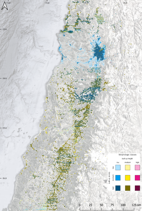 Figure 2: Built-up height and density for the middle part of Chile