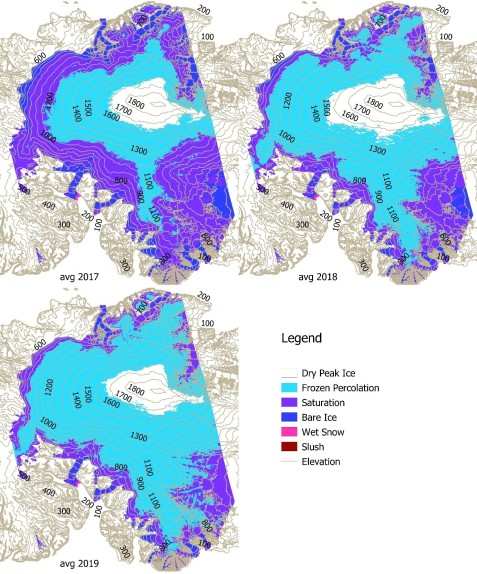 Figure 2: The average location and extension of the glacier facies on the Devon Ice Cap according to the TerraSAR-X based time series analysis for the three years under study.