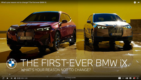 Quelle: BMW. (2021). What's your reason not to change? The first-ever BMW iX. https://www.youtube.com/watch?v=1XHr98Foq-w